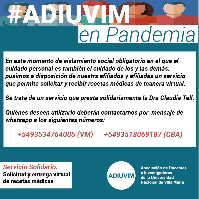 #ADIUVIM en Pandemia: Recetas Virtuales