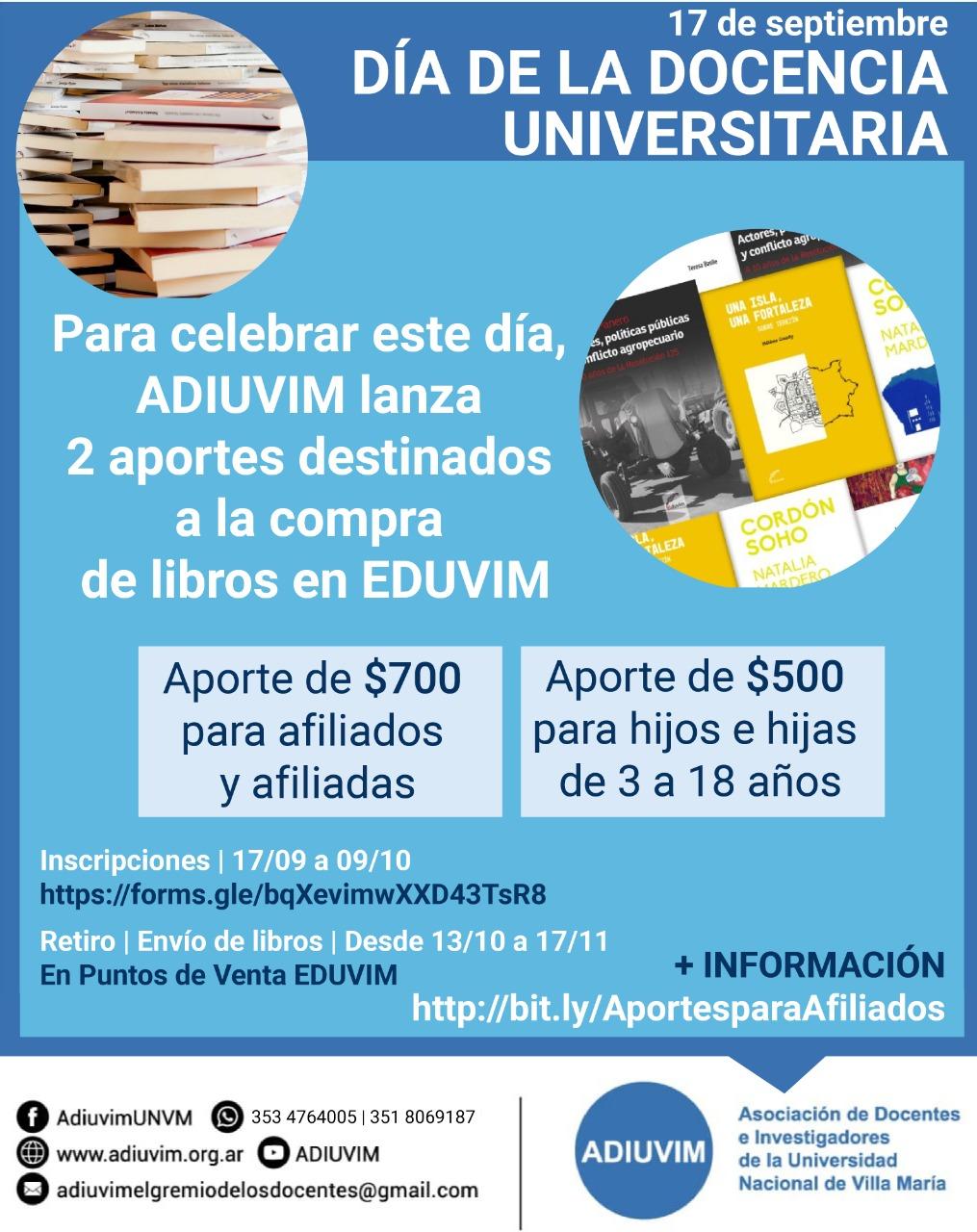 Aportes para compra de libros en el Día de la Docencia Universitaria