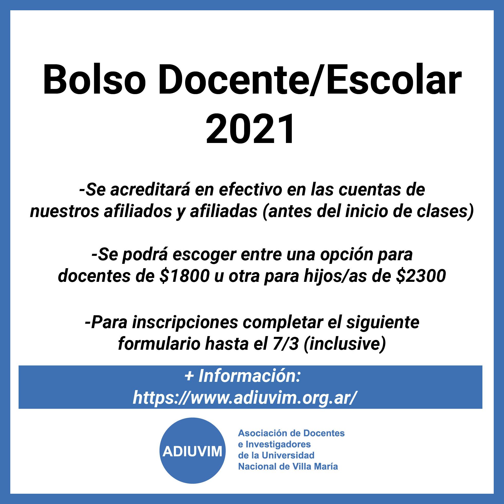 Bolso Docente/Escolar 2021: este año se acreditará en las cuentas de afiliados y afiliadas