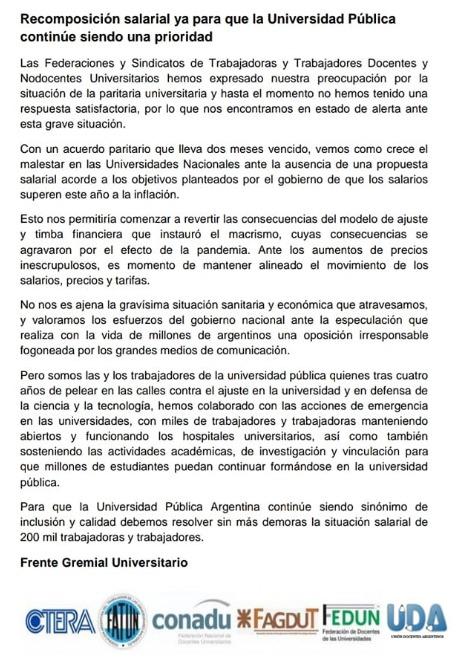 Comunicado conjunto del frente de representaciones gremiales de trabajadores universitarios