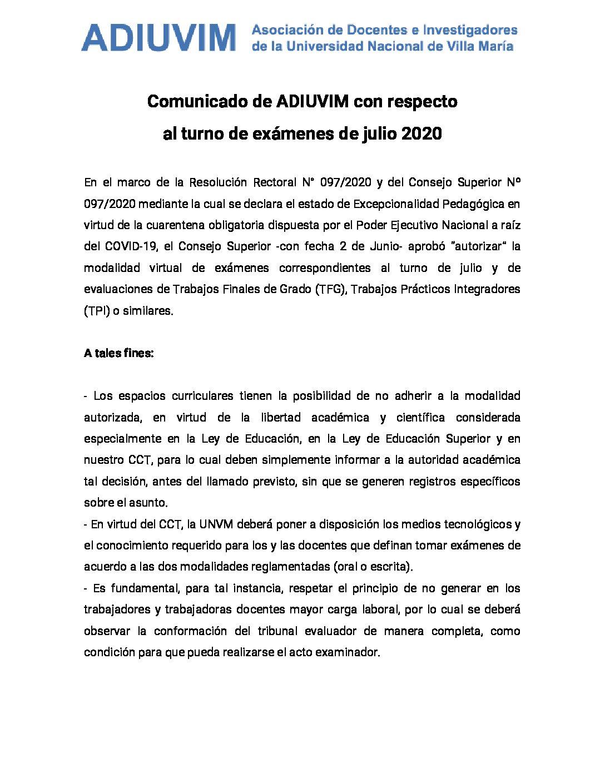 Comunicado de ADIUVIM con respecto al turno de exámenes de julio 2020