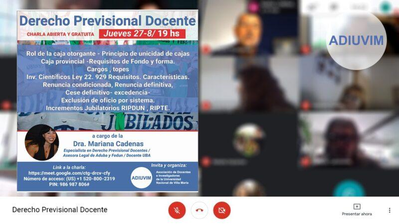 Ciclo de Charlas Abiertas: Dialogamos con Mariana Cárdenas sobre Derecho Previsional Docente