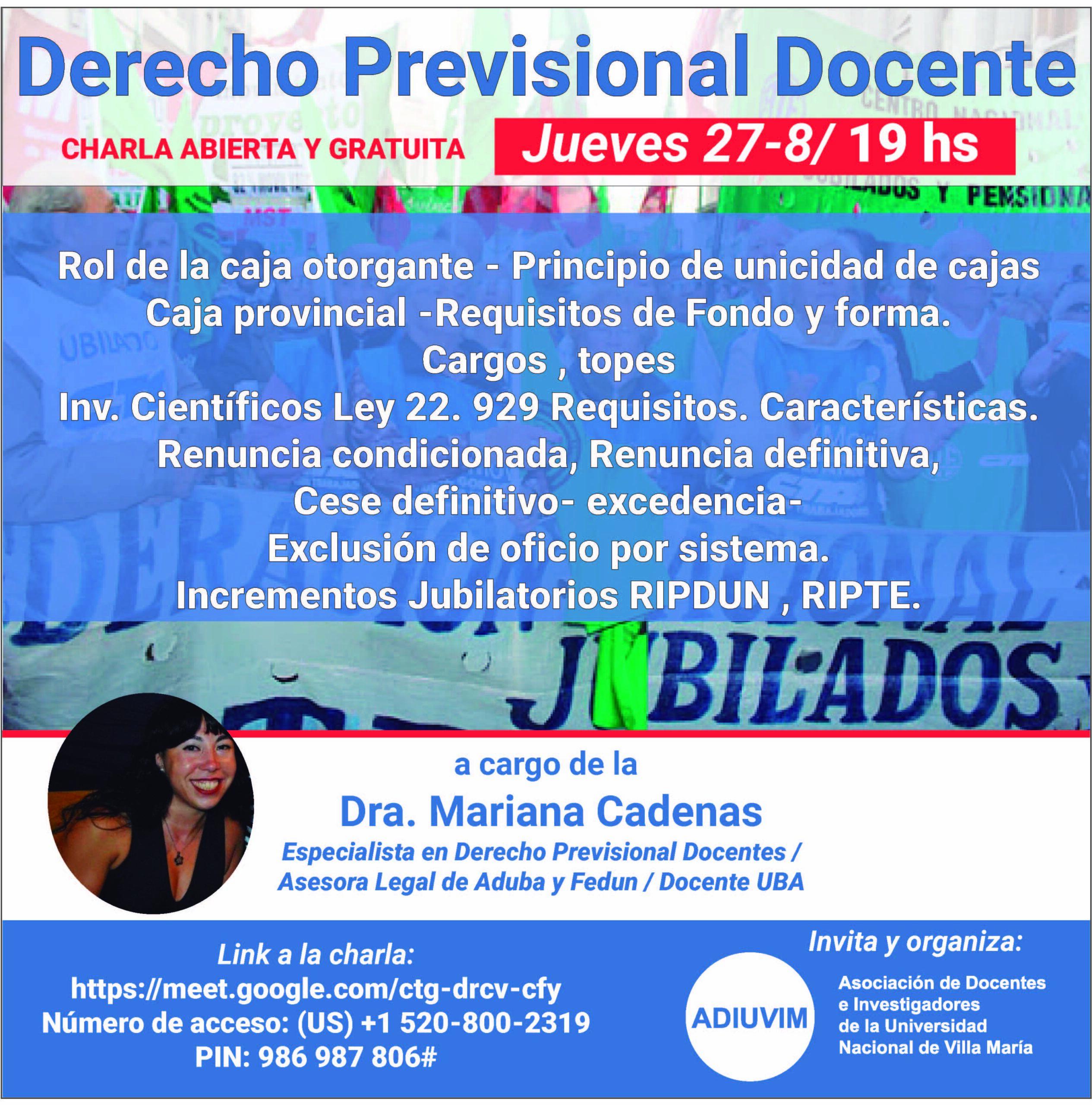 """Charla Abierta: """"Derecho Previsional Docente"""", a cargo de asesora de FEDUN Mariana Cárdenas"""