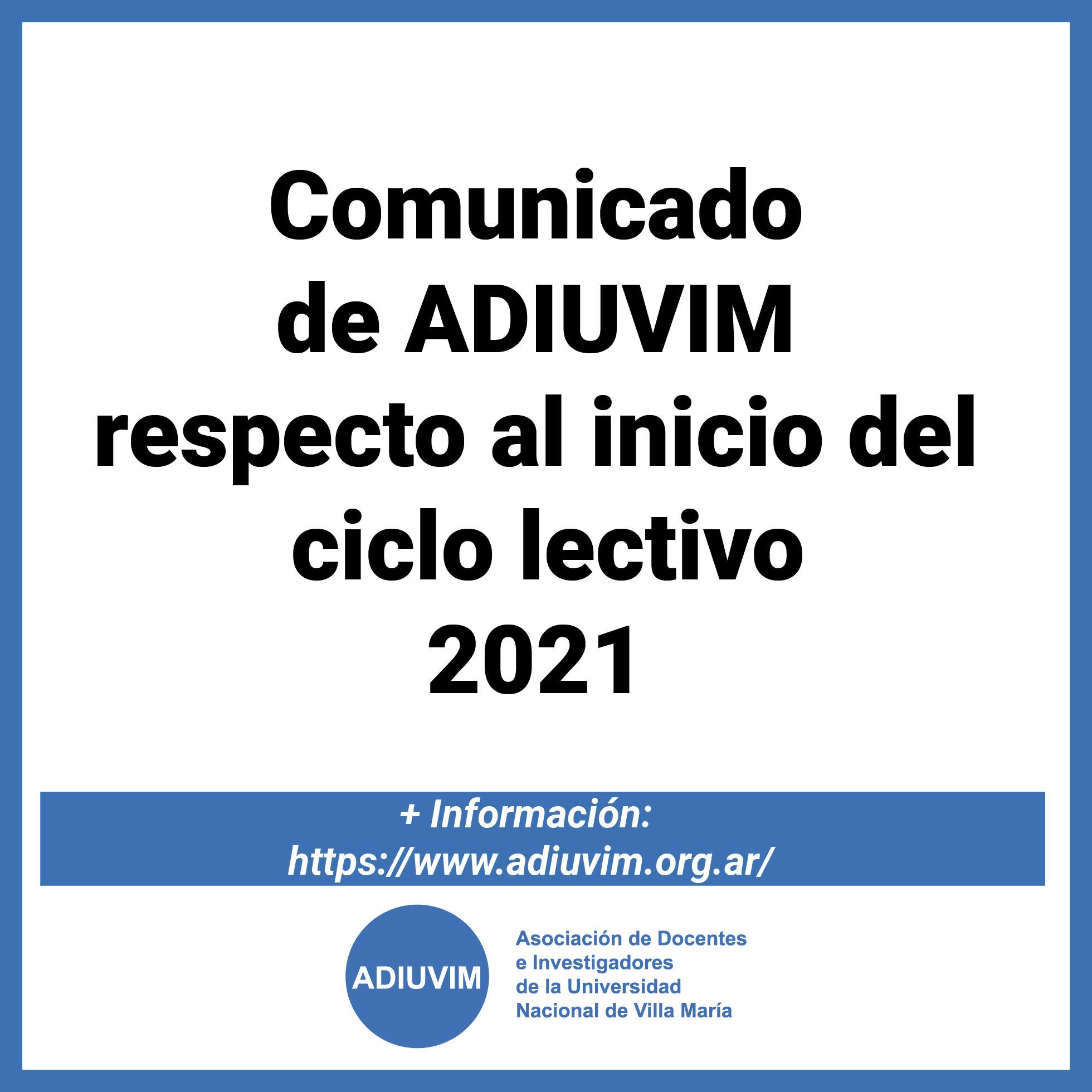 Comunicado de ADIUVIM respecto al inicio del ciclo lectivo 2021