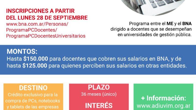 Se lanzó la línea de créditos para compra de PC destinada a docentes de las universidades nacionales