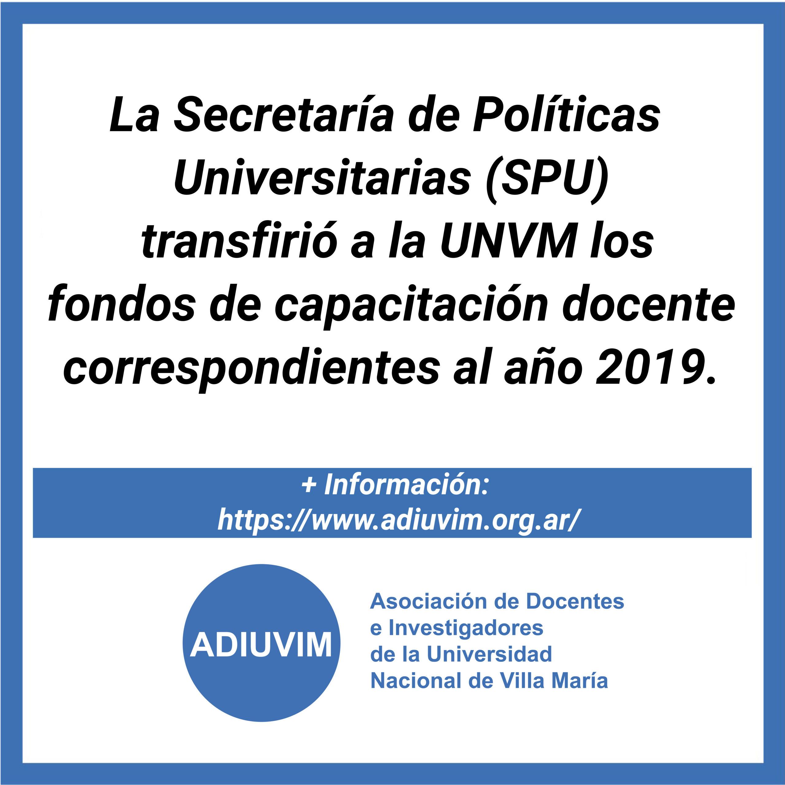 La SPU transfirió a la UNVM los fondos de capacitación docente correspondientes al año 2019
