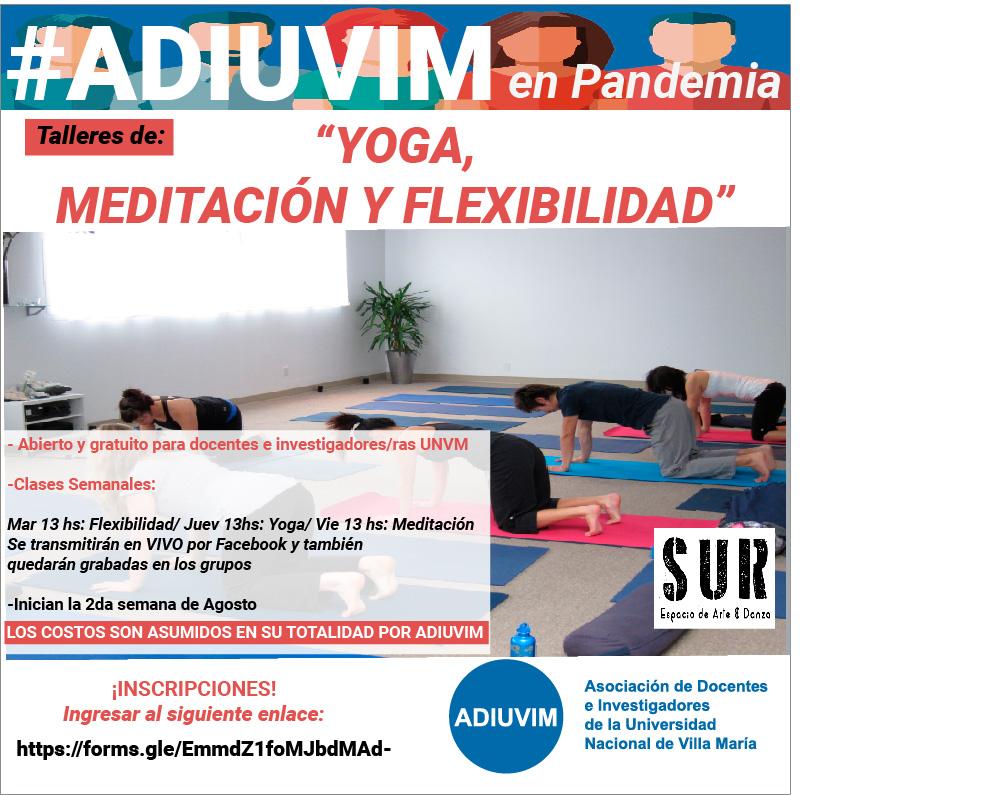 #ADIUVIM en Pandemia: Talleres de Yoga, Meditación y Flexibilidad