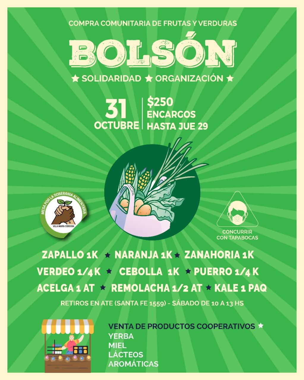 La Mesa por la Soberanía Alimentaria organiza un nuevo bolsón el sábado 31 de octubre
