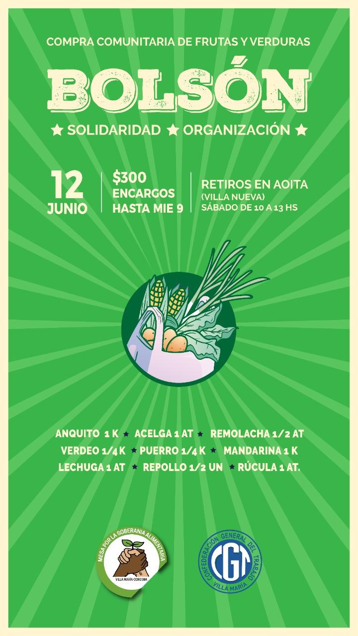 La Mesa por la Soberanía Alimentaria organiza un nuevo bolsón el sábado 12 de junio