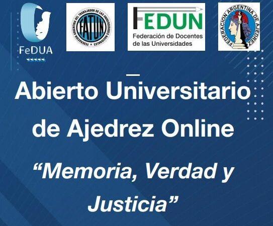 """Invitación a participar del """"Abierto Universitario de Ajedrez """"Memoria, Verdad y Justicia"""""""