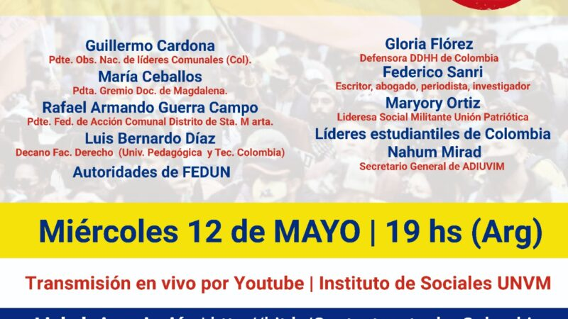 Solidaridad con Colombia: ADIUVIM participará en Conversatorio Virtual