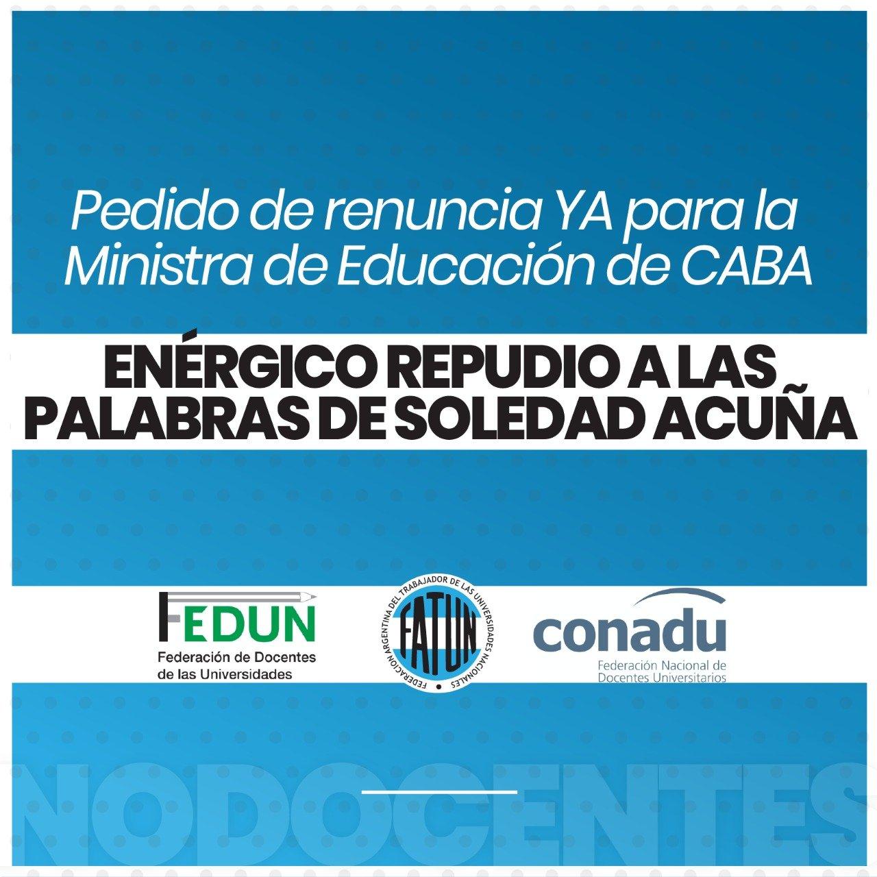 Repudiamos los dichos discriminatorios y acompañamos el pedido de renuncia de la Ministra de Educación de la ciudad de Buenos Aires.