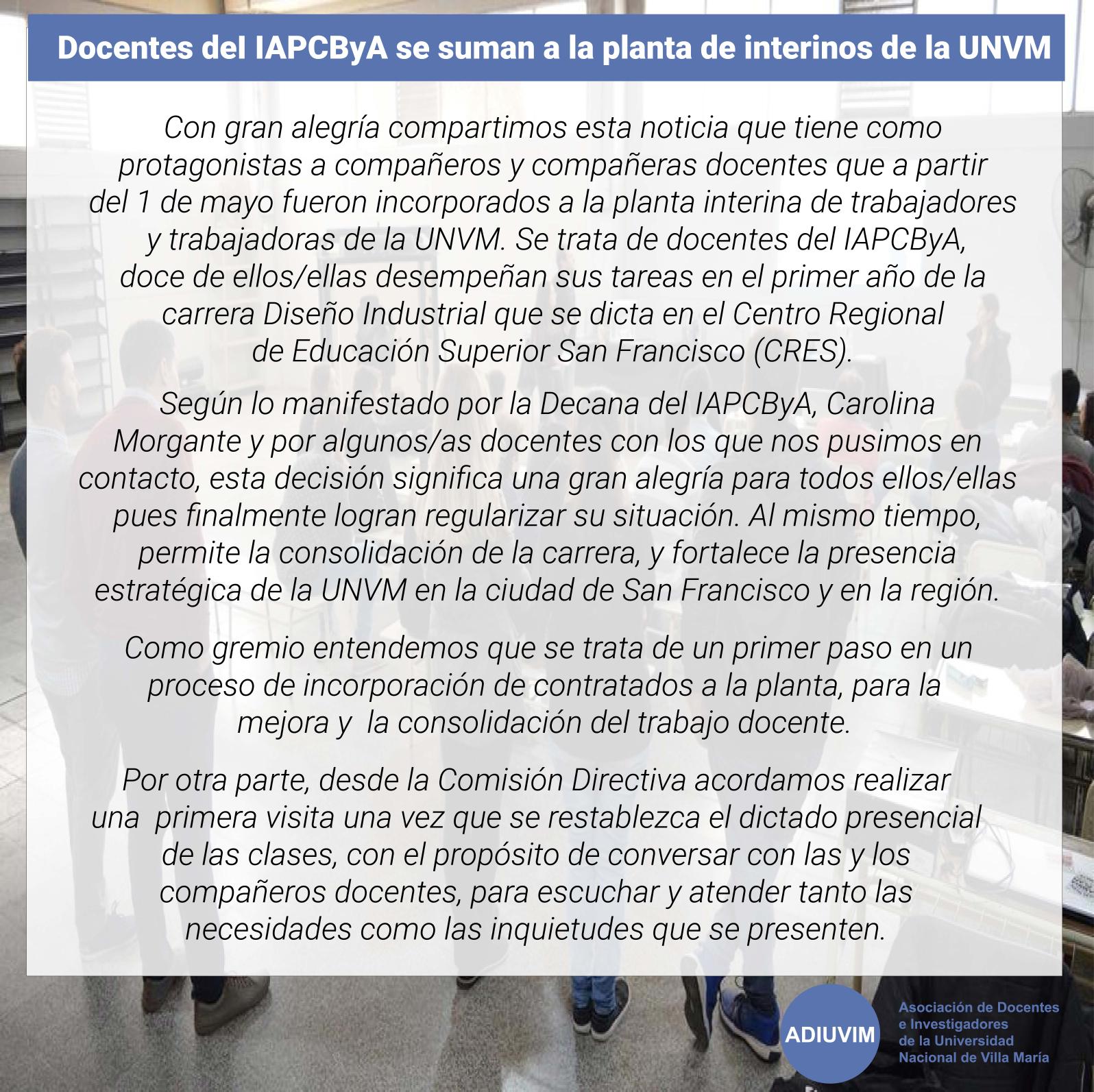 Docentes del IAPCByA se suman a la planta de interinos de la UNVM